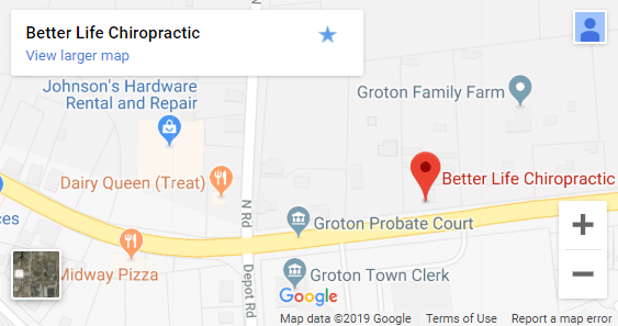 Map of Groton CT Chiropractors